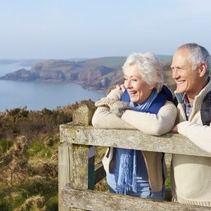 Mature Couple looking at wilderness
